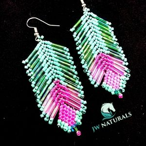 Handmade Feather Turquoise Hot Pink Bead Earrings